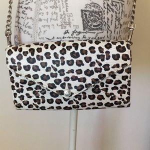 Rebecca Minkoff wallet in chain leopard crossbody